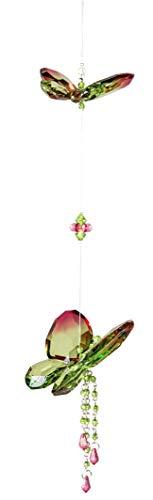 dekojohnson exklusiver Fensterdeko Acryl-Hänger-Schmetterling mit Blumen-Deko Fensterschmuck Hängedeko grün rot 44cm Sonnenfänger