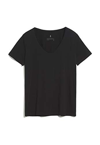 ARMEDANGELS HAADIA - Damen T-Shirt aus Bio-Baumwolle M Black Shirts T-Shirt U-Boot Regular fit