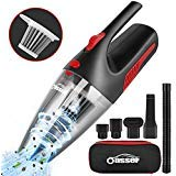 Oasser Handheld Vacuum Cordless Vacuum Cleaner Car Vacuum Wet Dry Stainless Steel Filter Powerful Li-ion Battery Quick Charge for Pet Hair Dust Gravel Cleaning Red Upgraded Version V1