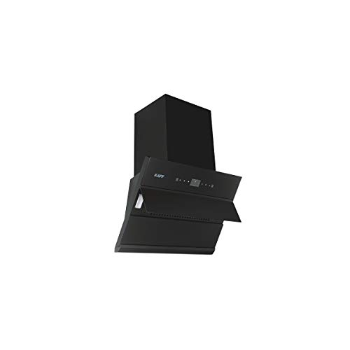 KAFF Chimney ALBURY DHC 60,Filter-Less + Dry Heat Auto Clean Technology Front,Black Glass with Clock Display,Designed Max Airflow (Upto): 1280 Nm3/H