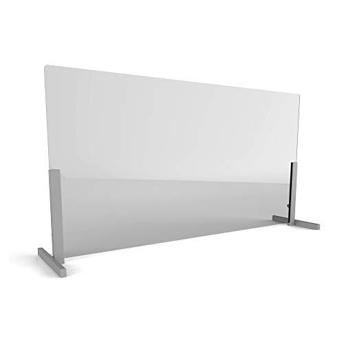 Linea Italia Acrylic Transparent Office Desk Barrier Sneeze Guard Shield Protection, 24' x 60', 24' x 60' x 0.125', Clear