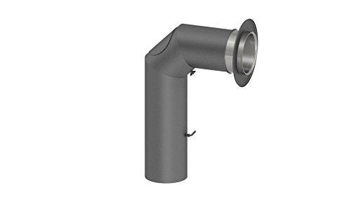 Kamin Winkelrohr / Abgasrohr mit Tür und Drosselklappe, grau, Durchmesser 120mm