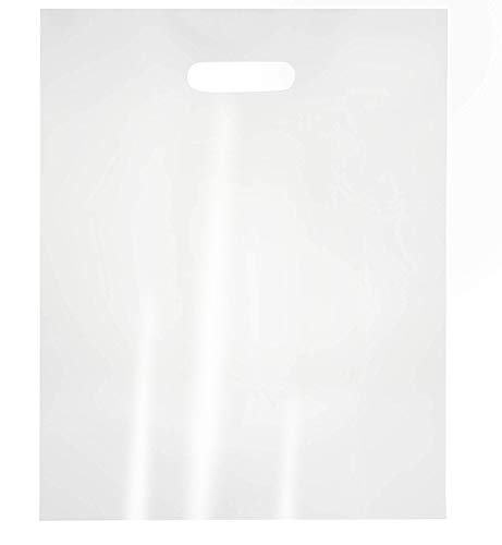 100-Pack Clear 12 x 15 Merchandise Bags with Die Cut Handles, 1-Mil Thick Recyclable LDPE, No Gusset, Bulk Retail Shopping Bags, 12 x 15 Inches