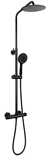 VALAZ Barra de ducha redonda termostatica negro mate con rociador de 25cm