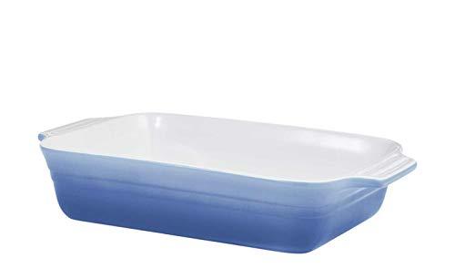 KHG Auflaufform groß Keramik Hellblau Blau Steinzeug Steingut Innen Weiß Länge 40 cm