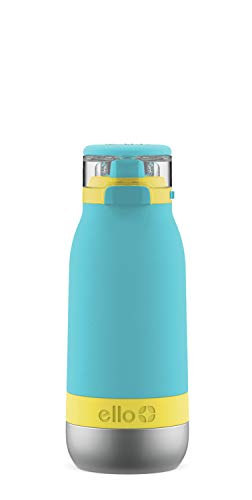 Ello Emma Vacuum Insulated Stainless Steel Kids Water Bottle with Anti-Microbial Straw, 14oz, Sky