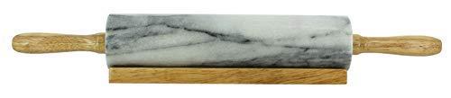 OGO LIVING Nudelholz aus Marmor und Sockel aus Holz, 45 cm