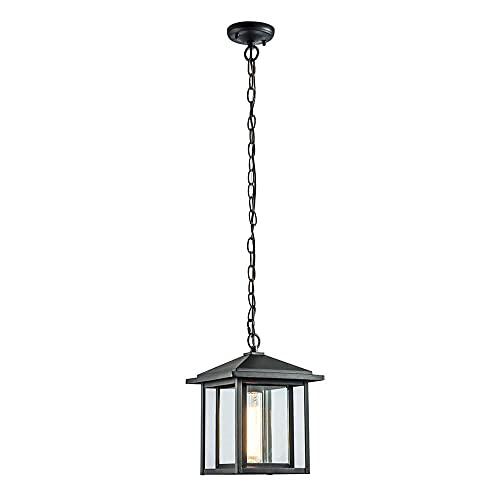 Wonderlamp – Suspension extérieure Avenue, 1 x E27, max. 60 W IP 23 Lampe vintage en forme de lanterne avec verre Noir