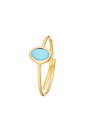 Córdoba Jewels | Sortija en Plata de Ley 925 bañada en Oro con Piedra semipreciosa con diseño Oval Turquesa Gold