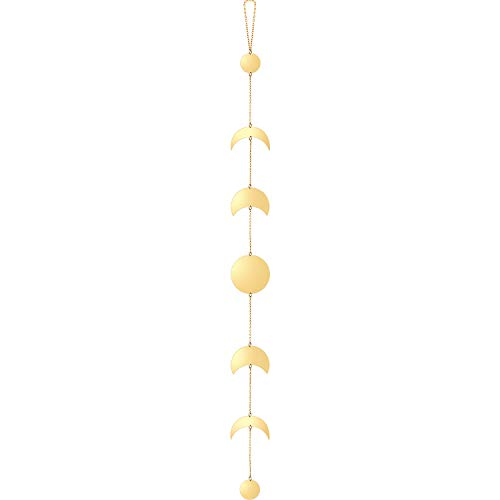 Blulu Mondphase Wanddekoration Mondphase Hängende Girlande Mond Böhmischen Wandkunst Boho Mond Hängende Ornamente mit Metall Kupfer Ketten für Hochzeit Home Wanddekorationen (Gold)
