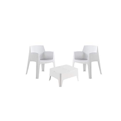 Shaf Costa | Lounge Gartenmöbel 2 Personen | Balkonmöbel Set für Terrasse oder Garten-Weiß