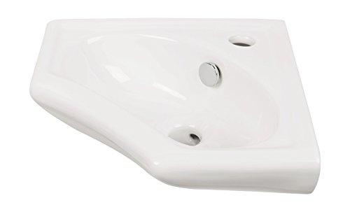 'aquaSu® Eckhandwaschbecken scaLma | 34 cm | Weiß | Eckwaschbecken | Einbauwaschtisch | Eckwaschtisch | Waschtisch | Gäste-WC