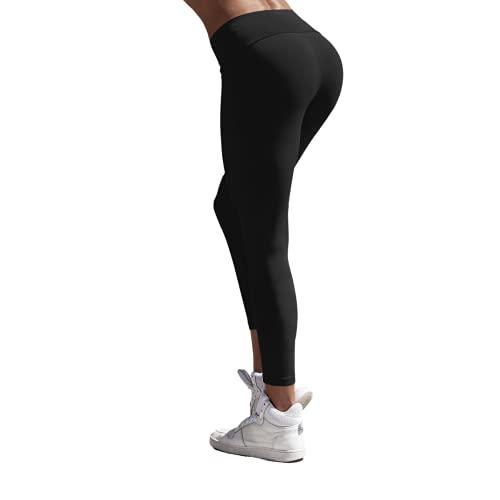 HD DHISPANIA Leggins Mujer Push up - Mallas Fuertes para Yoga Cintura Alta/no trasparentan- Tejido DE Compresion Reductor (Negro, M, Numeric_40)
