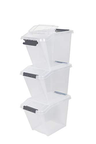 Kreher Set aus 3 stapelbaren Lagerboxen, Sortierboxen mit geteiltem Deckel in Transparent. Nutzvolumen ca. 58 Liter pro Box. Maße ca. 40 x 65 x 44 cm