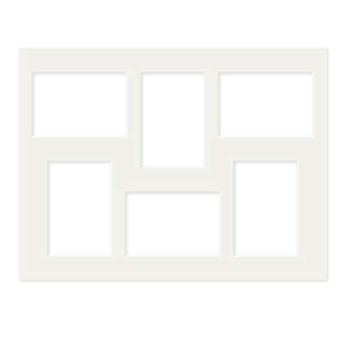PHOTOLINI Galerie-Passepartout Weiß 30x40 cm für 6 Bilder in 9x13 cm | Passepartout mit Mehrfachausschnitt