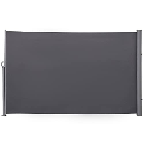 Outsunny Store latéral Brise-Vue paravent rétractable dim. 3L x 1,6H m alu. Polyester imperméable Anti-UV Haute densité 180 g/m² Gris