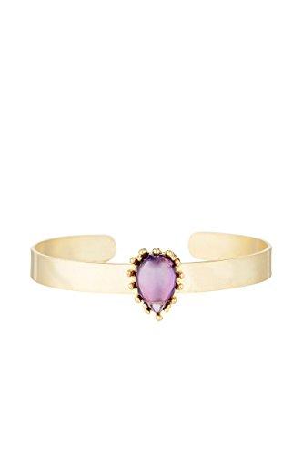 Córdoba Jewels | Pulsera en Acero bañado en Oro con Piedra semipreciosa con diseño Brazalete Gota Amatista Gold