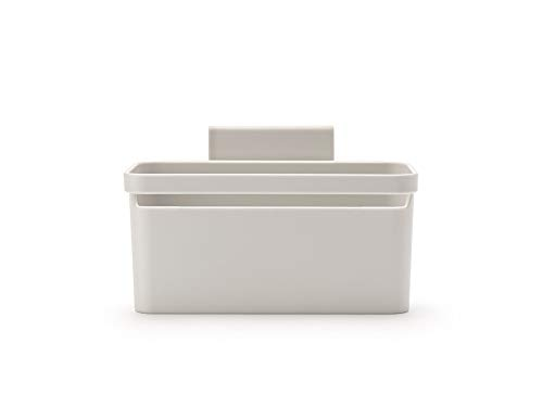 Brabantia In-Sink Organiser Caddy with Suction Cups & Drainage Holes (Light Grey) Easy-Fix Kitchen Tidy Holder for Sponges, Cloths & Washing Up Brushes