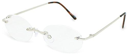 デューク 老眼鏡 +3.0 度数 縁なし メタルフレーム ソフトケース付き シルバー DR-311+3.00