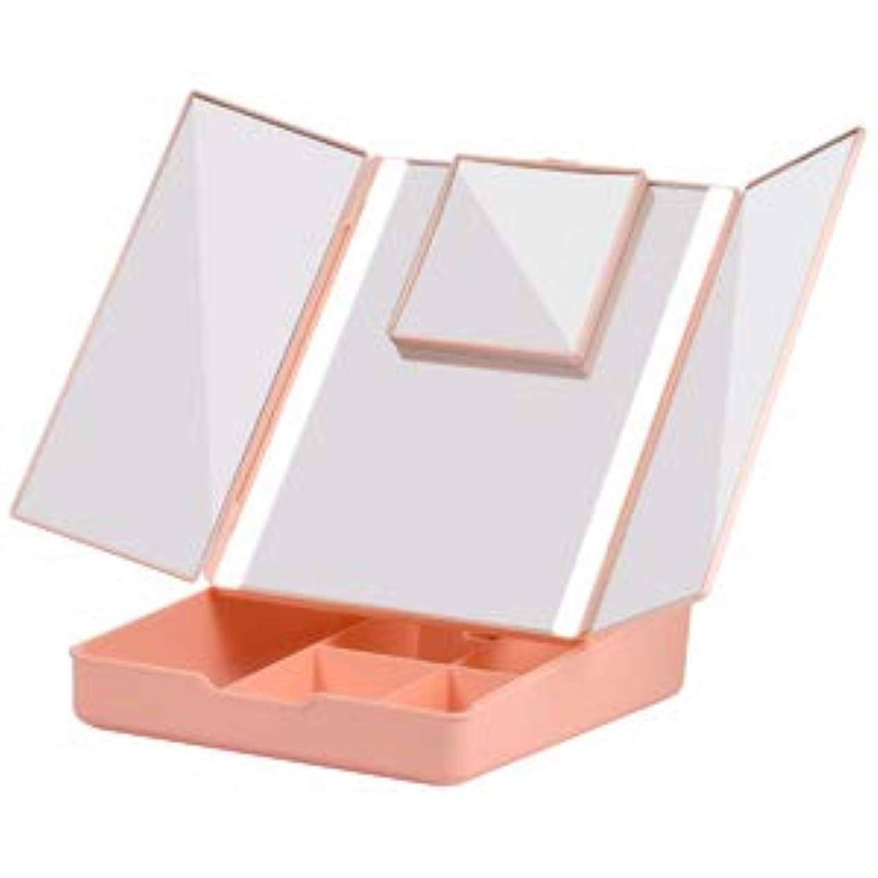 倫理マティスフィクションFascinate 折りたたみ式三面鏡 化粧鏡 7倍拡大鏡付き 24個LED スタンドミラー USB&電池式 角度調整可能 収納ケース付き