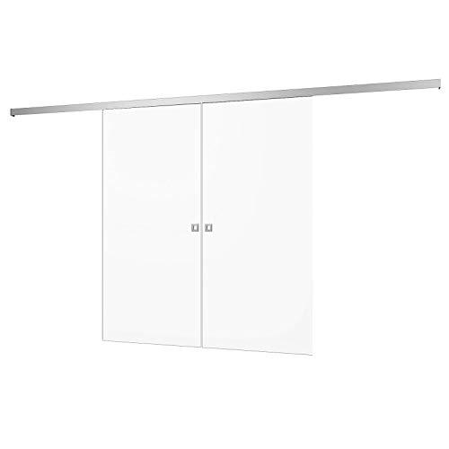 inova Doppel-Holz-Schiebetür 2-Flügelig 1760 x 2035 mm Weiß Alu Komplettset mit Lauf-Schiene und Quadratgriff