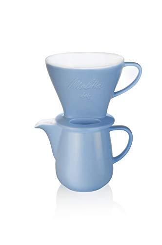 Melitta 6768435 Pour Over Set blau (Kaffeefilter 1x4 + Porzellan Kaffeekanne 0,6 l) Classic Edition