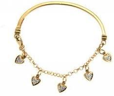 18K Yellow Gold Half Bangle with Diamond Heart Charms