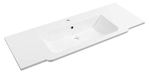 FACKELMANN Gussmarmorbecken Luxor mittig/Waschtisch aus Gussmarmor/Maße (B x H x T): ca. 120 x 14,5 x 48,5 cm/hochwertiges Waschbecken fürs Badezimmer und WC/Farbe: Weiß/Breite: 120 cm