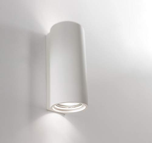 ISYLUCE APPLIQUE LAMPADA DA PARETE TUBOLARE LUCE BIEMISSIONE GESSO BIANCO VERNICIABILE CERTIFICAZIONE ELETTRICA ITALIANA