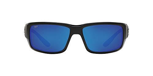 Costa Del Mar Men's Fantail 580P Polarized Rectangular Sunglasses, Blackout/Grey Blue Mirrored Polarized-580P, 59 mm