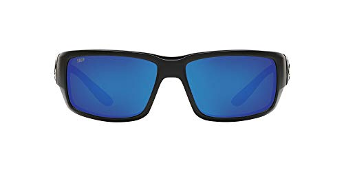 Costa Del Mar Men's Fantail 580P Polarized Rectangular Sunglasses, Blackout/Grey Blue Mirrored Polarized-580P, 59 mm