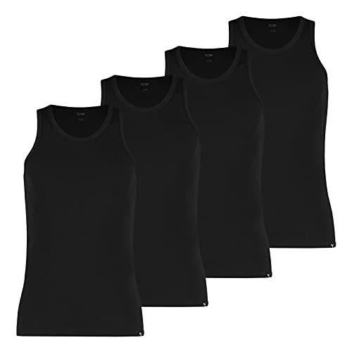 PUMA Herren Basic Tank Tops Unterhemden 100000891 4er Pack, Artikel:-001 Black, Wäschegröße:XL