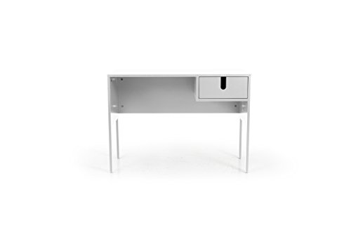 TENZO uno Designer Scrivania, MDF + Pannelli di Particelle, Bianco, 105x 50x 75cm