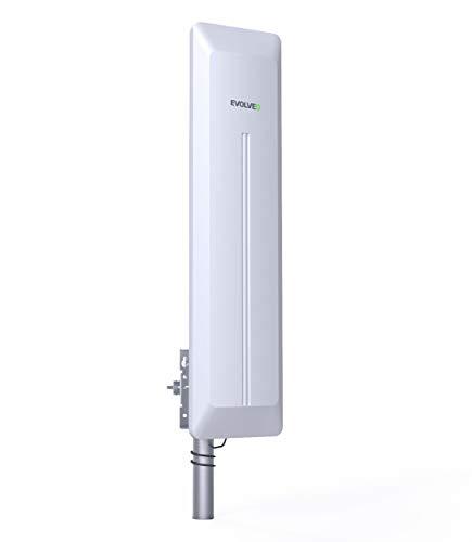 EVOLVEO HDO Außenantenne, für den Empfang DVB-T/T2 in HD, Verstärker, Gewinn 45 dB, Wirkungsgrad 90-100%, LTE/4G-Filter, Speiseadapter, Kabel 15m IEC Male/F Male. Reduktion F Female/IEC Male