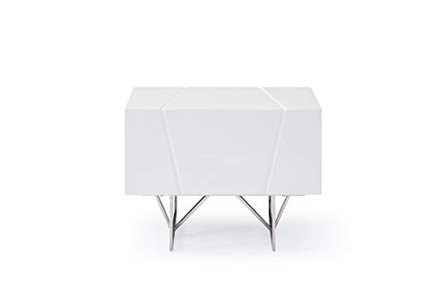 Limari Home Arrow Collection Modern Style Bedroom High Gloss Finished Nightstand With 1 Drawer & Stainless Steel Leg, White
