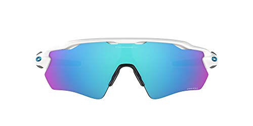 Oakley Men's OO9208 Radar EV Path Polarized Shield Sunglasses, Polished White & Black/Prizm Sapphire, 38 mm