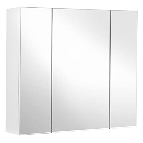 VASAGLE Bathroom Wall Cabinet, Cupboard with Mirror, 3-Door Storage Cabinet, 60 x 15 x 55 cm, with Adjustable Shelf, Modern, White BBK22WT