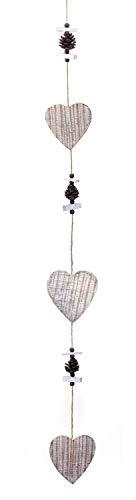 TEMPELWELT Deko Anhänger Dekokette Herz Herzchen 110 cm, Holz Natur braun weiß, Shabby, Fensterdeko Dekogirlande Kette zum Hängen, Winterdeko