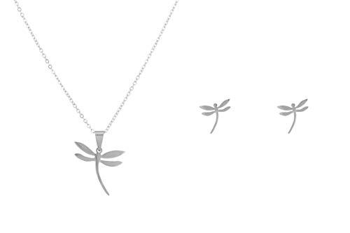 Córdoba Jewels   Conjunto de Gargantilla y Pendientes en Plata de Ley 925 con diseño Libélula Silver