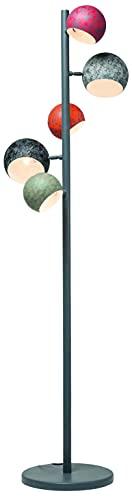 Kare Design Stehleuchte Calotta Antico 5er, Stahl lackiert, grau, rot, orange, grün, Retro Stehleuchte, Vintage Stehleuchte(H/B/T) 25.5x40x200cm