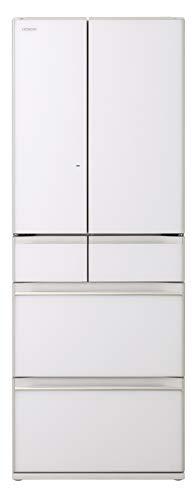 日立 冷蔵庫 602L 6ドア 強化ガラスドア 観音開き 本体日本製 幅68.5cm まるごとチルド R-HW60K XW クリスタルホワイト