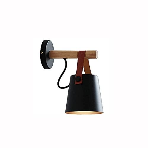 Aplique de pared, lámpara de pared de estilo nórdico, control remoto LED, funciona con pilas, interior, inalámbrico, negro, aplique de pared, lámpara para dormitorio, loft, pasillo, restaurante (col
