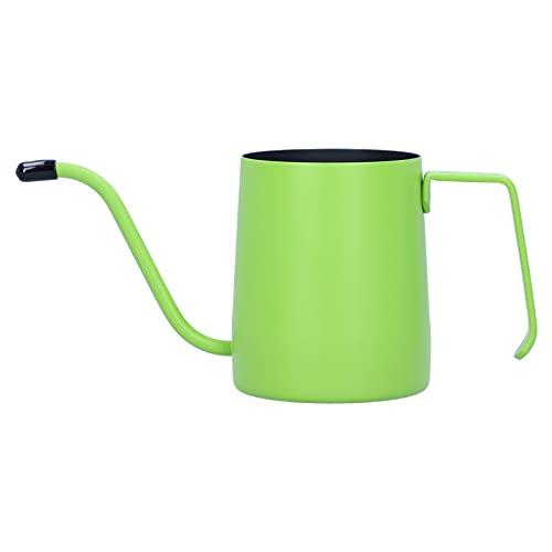 Cafetera hecha a mano de 350 ml, acero inoxidable, caño de goteo largo y estrecho, cafetera, tetera, caño fino, verter sobre tetera(verde)