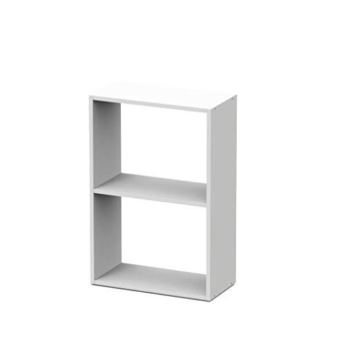 Regal EKO Weiß 2 Fächer Bücherregal Nachttisch platzsparend 50x70x24.5 cm kleines Regal