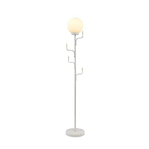 FWZJ Lámpara de pie lámpara estándar Lámpara de pie Creativa con Perchas Luz de Suelo de mármol Dormitorio Sala de Estar Lámpara de pie Junto a la Cama Pantalla de Cristal Lámparas de pie Luz de