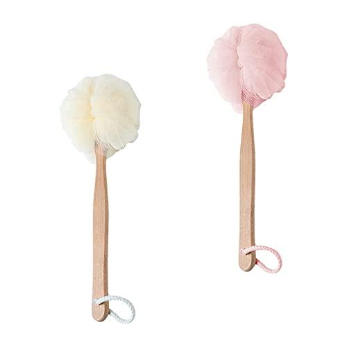 2 unids espalda cuerpo cepillo esponja esponja espalda depurador baño ducha depurador con mango largo para hombres mujeres exfoliante rosa blanco