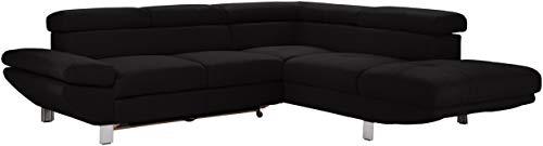 Mivano L-Form-Sofa Carrier / Modernes Ecksofa mit Kopfteilverstellung und klappbarer Armlehne / 257 x 74 x 233 / Mikrofaser, Schwarz