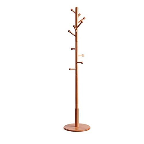 OFFA Perchero de madera con 10 ganchos y base redonda, para abrigos, sombreros, bolsos, bufanda, color blanco