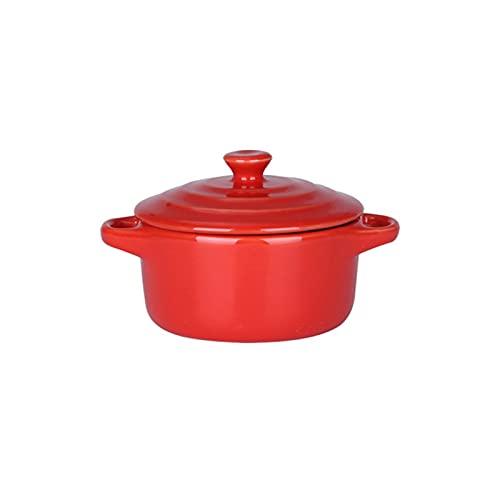 PPuujia Cuenco de mezcla de cerámica colorido esmaltado doble oreja con tapa de carne guisada y huevo al vapor, fuente de cocina (color: rojo)
