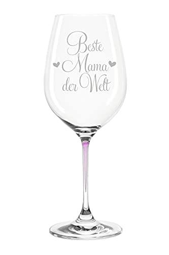 Leonardo Weinglas mit Gravur - Beste Mama der Welt - Geschenk für Mama ideal als Muttertagsgeschenk - Weißweinglas Rotweinglas als Geburtstagsgeschenk für Mama Farbe La Perla